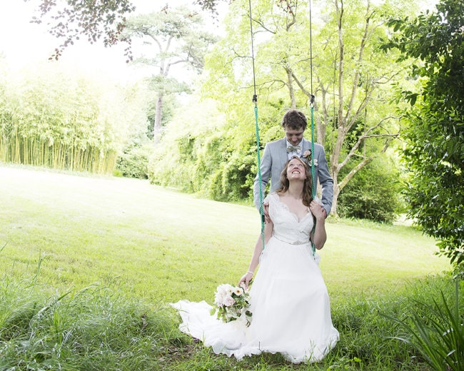 garden wedding on the swing
